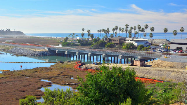 Construction on a railroad bridge in Carlsbad