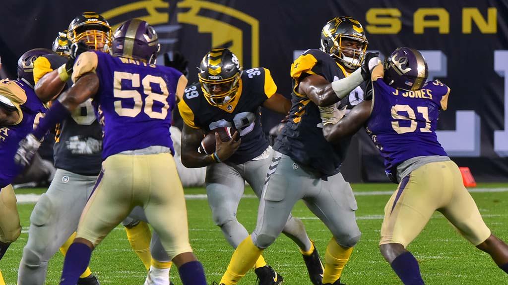 Fleet running back Terrell Watson finds a gap to sprint through.