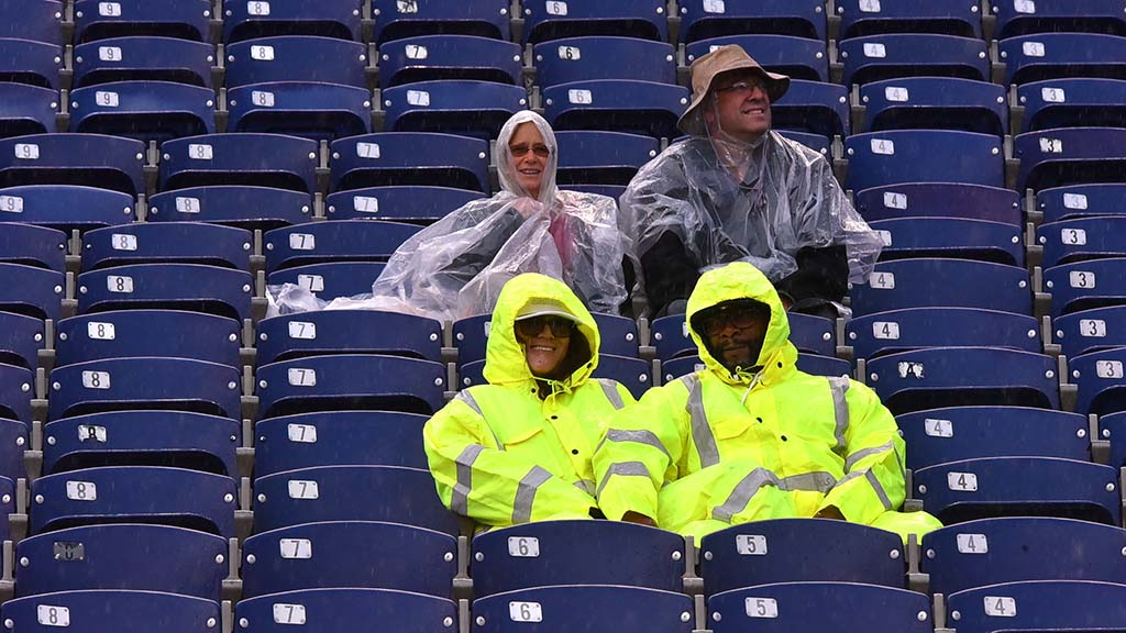 As the game started couples were prepared for football season in an El Nino year.