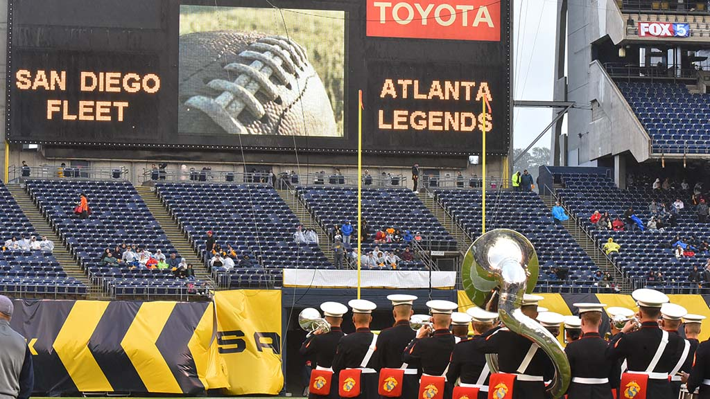 A U.S. Marine Corps band played in the opening ceremony of the home opener for the San Diego Fleet.