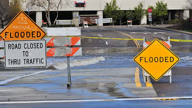 The San Diego River by Fashion Valley shopping center commonly floods during rainy weather