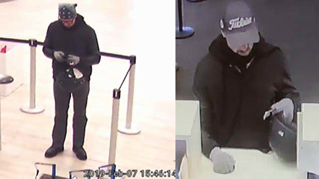 Surveillance photos of bank robber. Images via FBI