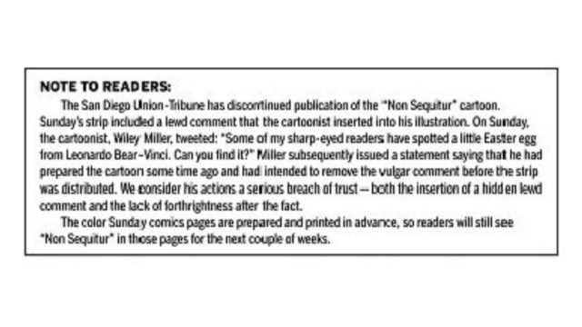 Union-Tribune note to readers appearing on the comics page Feb. 15, 2019.