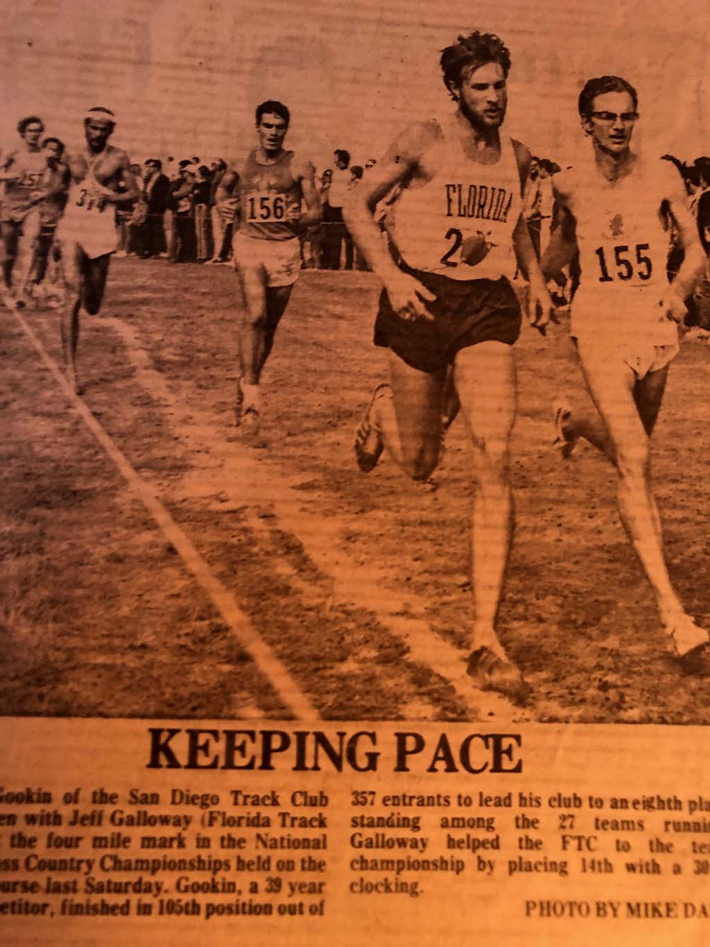 Bill Gookin (front right) battles world-class distance runners at a national cross country championships.