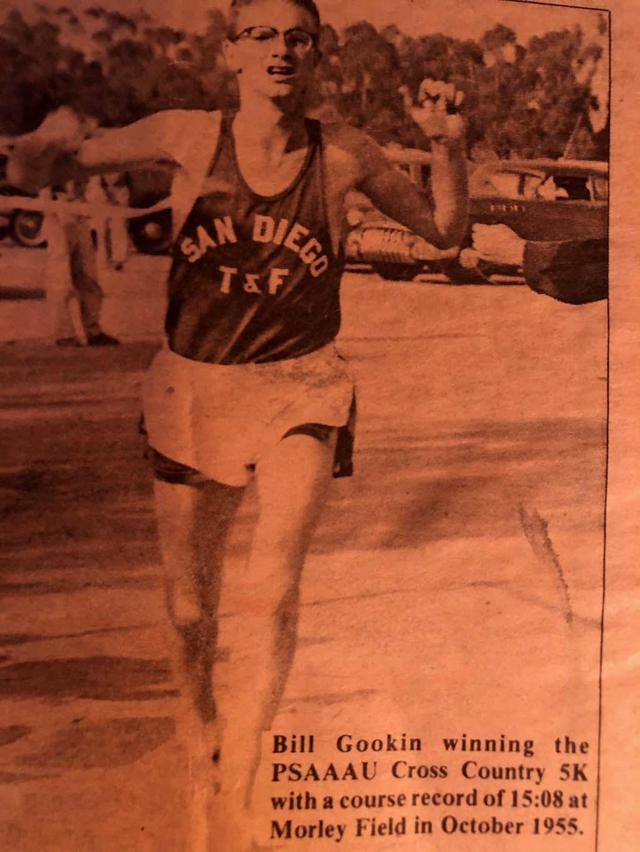 Bill Gookin wins regional AAU 5-kilometer cross country title at San Diego's Morley Field in 1955.