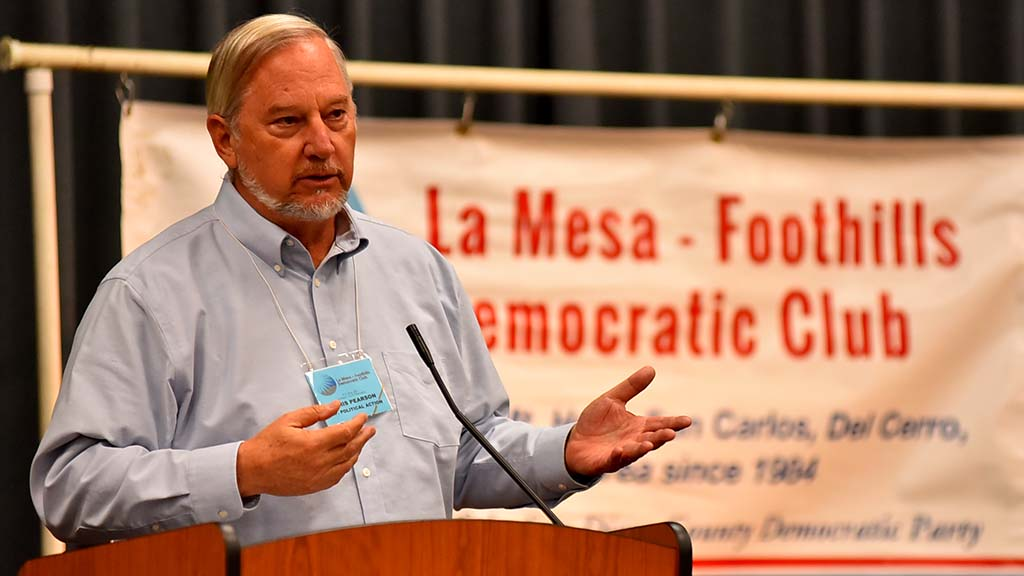 Club political affairs chief Chris Pearson reminded members that California's presidential primary is in March 2020.
