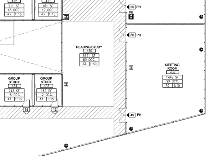 This image shows the original design, which included a meeting room and reading/study room, of the floor plan for Palomar College President Joi Lin Blake's new office suite.