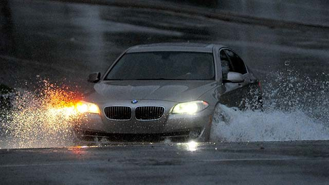 Strong winds and heavy rain moved into San Diego on Saturday afternoon.