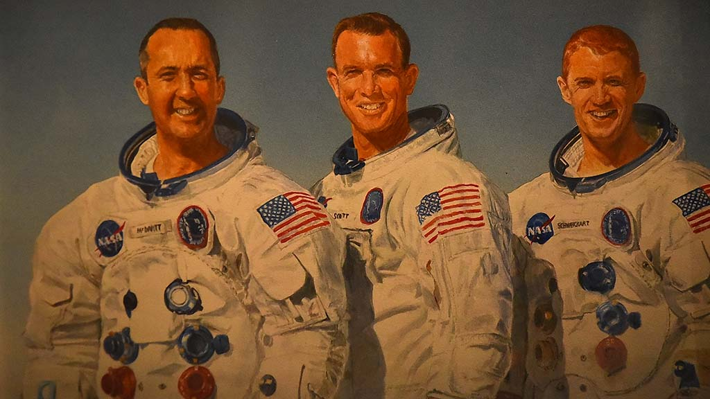 Pictured at the 50th anniversary Apollo 9 event were (from left) Jim McDivitt, David Scott and Rusty Schweickart.