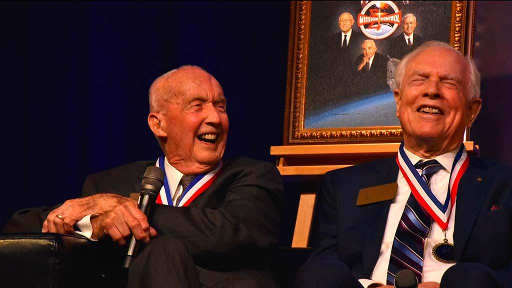 Apollo 9 commander Jim McDivitt (left) and command module pilot David Scott shares laughs and memories.