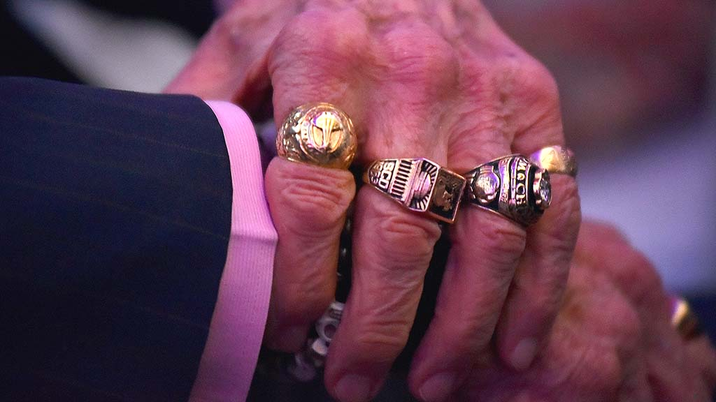 Apollo 11 astronaut Buzz Aldrin wore a variety of rings to the 50th anniversary Apollo 9 event in Balboa Park.