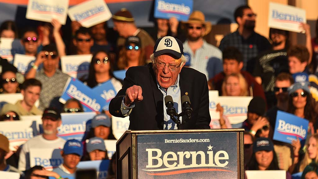 Presidential candidate Sen. Bernie Sanders speaks to thousands of supporters at the County Administration Center in downtown San Diego.