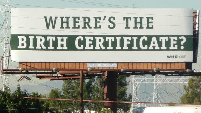"""Birther"" conspiracy billboard"