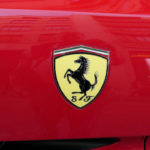 Emblem on a Ferrari sports car