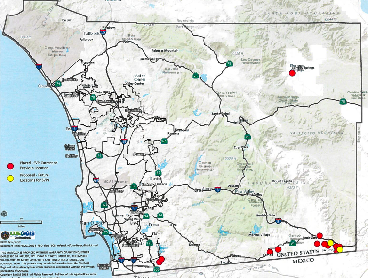 Map provided by county Supervisor Dianne Jacob of placement of convicted violent sex offenders.