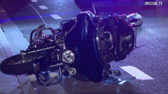 The downed motorcycle on El Camino Real