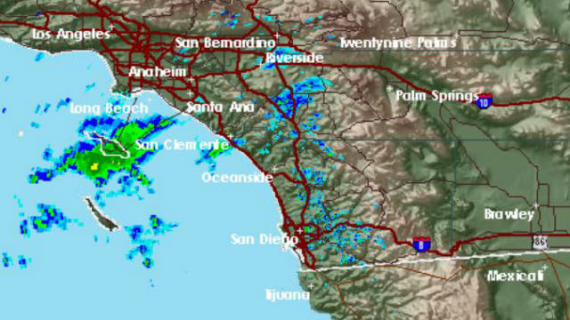 Radar image of storms over Santa Catalina Island
