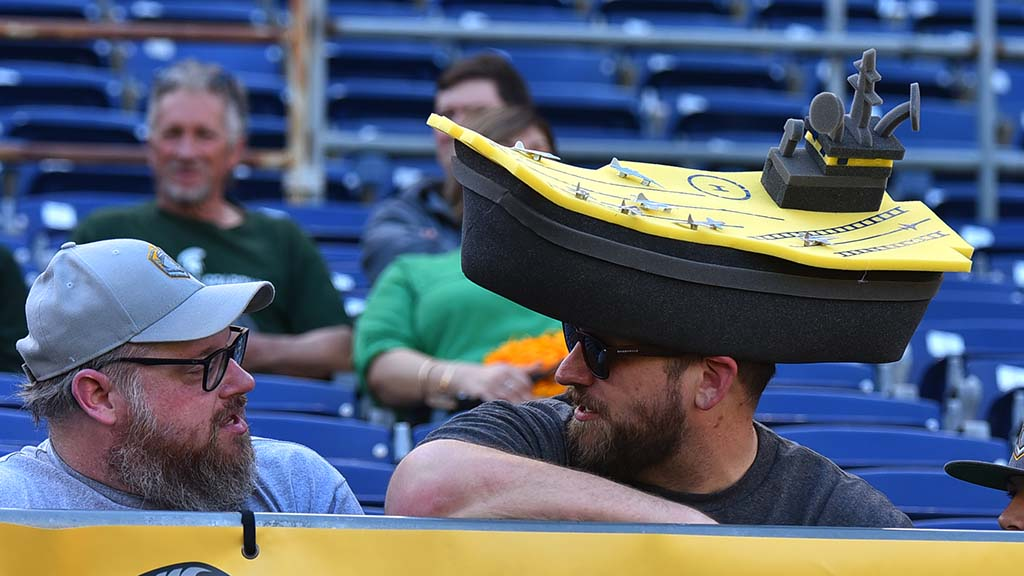 Green Bay has its Cheeseheads. Now Fleet fans in San Diego sport Battleshipheads.