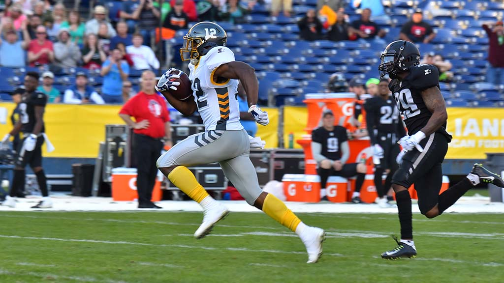 Fleet wide receiver Dontez Ford is off to the races against Birmingham Iro