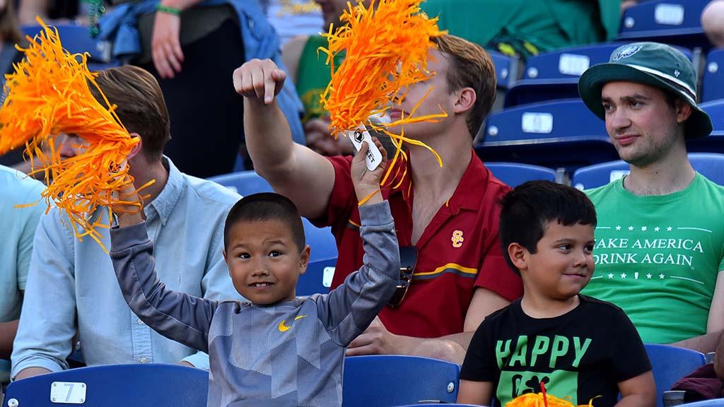 Children had a blast shaking their Fleet give-aways at SDCCU Stadium.