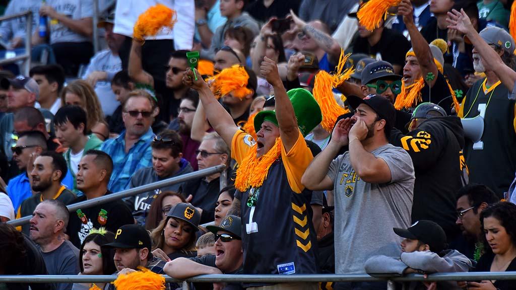 Fleet fans cheer San Diego during game with Birmingham Iron.