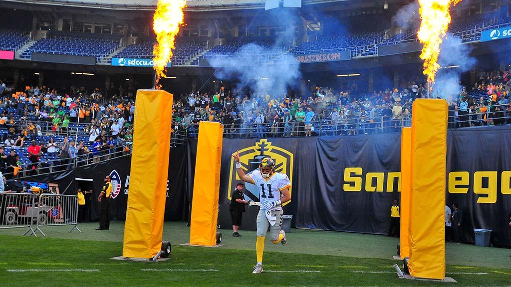 Fleet quarterback Mike Bercovici makes his entrance at SDCCU Stadium.