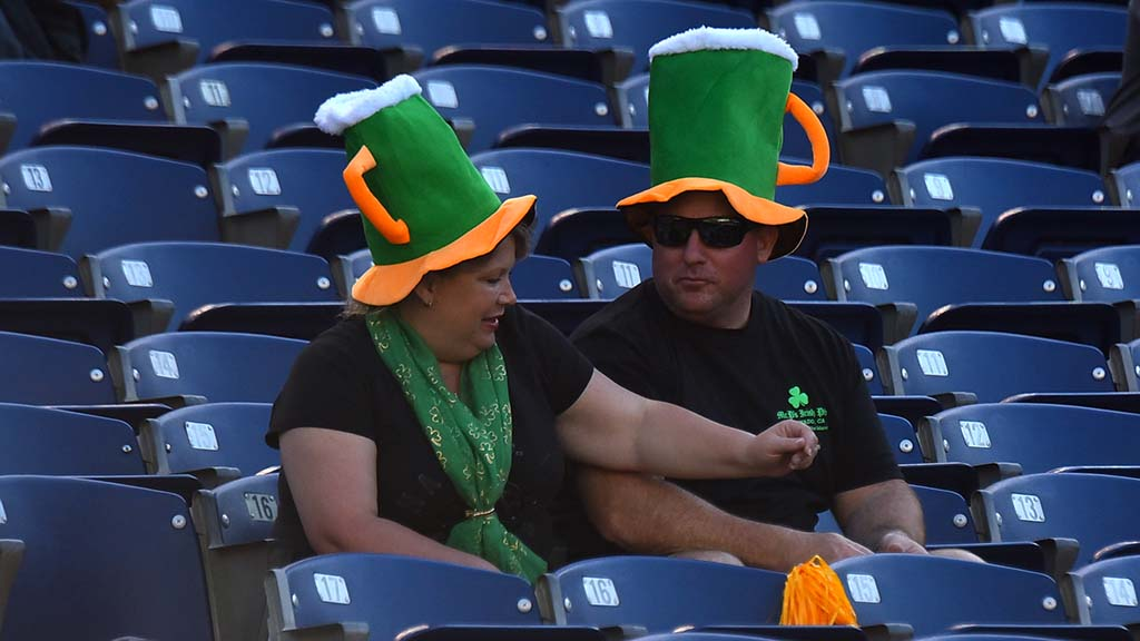 Football fans came dressed for St. Patrick's Day at SDCCU Stadium