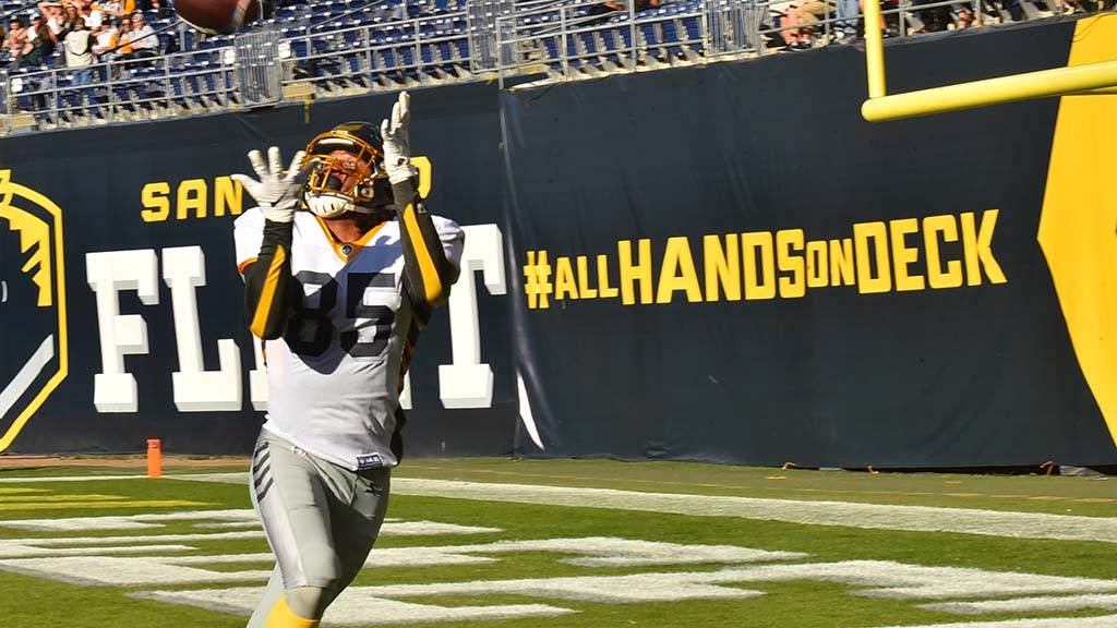 Tight end Marcus Baugh misses reception in end zone in the first quarter amid sign's orders.