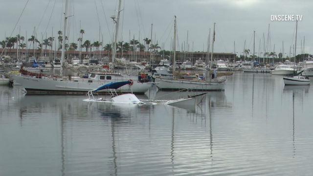 Partially sunken boat off Shelter Island