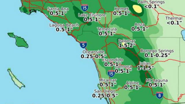 Map shows forecast rain totals for the weekend