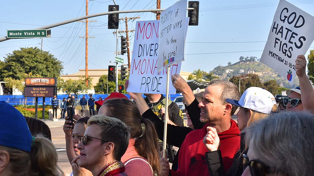 About 170 counter protesters gathered across the street from Monte Vista High School in Spring Valley to oppose the anti-LGBT message of Westboro Baptist Church.