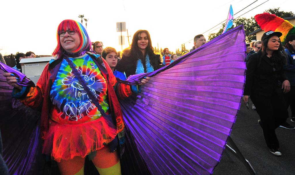 "Solstice O'Brien of Oceanside sports purple wings for the ""Rainbow Dance Party"" in support of the LGBT community."