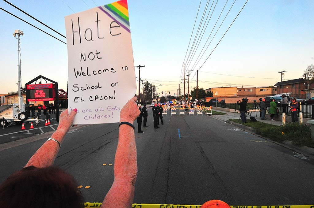 A counterprotester sent her own message to Westboro Baptist Church members behind barricades in front of El Cajon Valley High School.