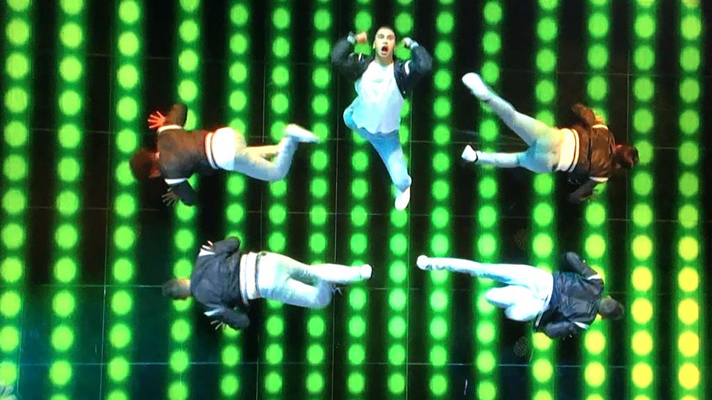 """World of Dance"" shows an 80-second routine of Fuego Dance Crew from above at one point."