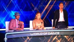 "Judge Derek Hough (right) reacts with amazement during Fuego Dance Crew performance on ""World of Dance."""