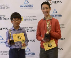 Runner-up Paul Macapinlac, 11, of Marshall Middle School with winner Elliott Husseman. Photo via San Diego County Office of Education