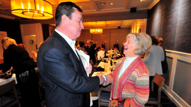 Marcia Adema of Descanso chats with Joel Anderson after his latest appearance before the Navajo Canyon Republican women's club.