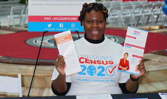 Woman recruiting for census workers