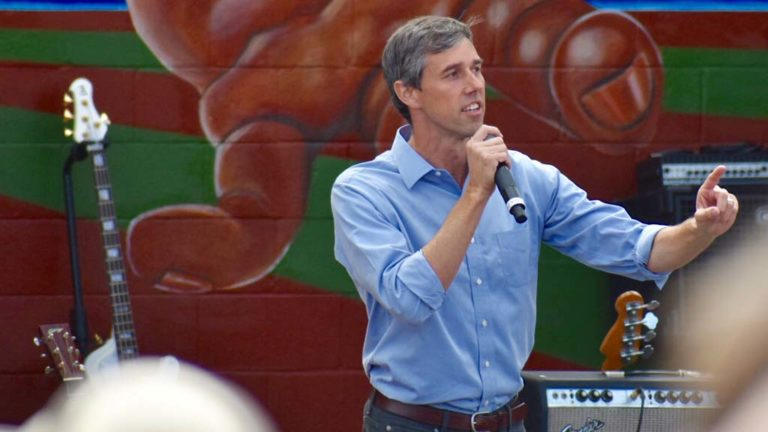 Beto O'Rourke, shown campaigning in November 2018 for U.S. Senate. He lost to Republican Sen. Ted Cruz by 2.6 percentage points in Texas.