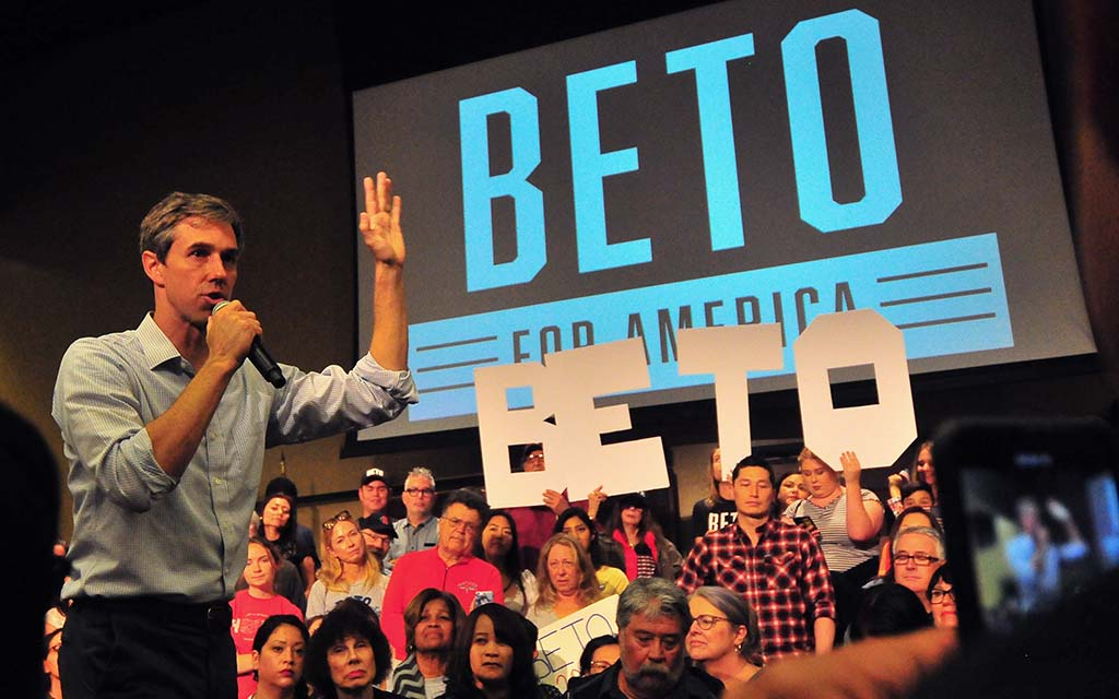 Presidential candidate Beto O'Rourke was warmly greeted at the Jacobs Center in Chollas View.
