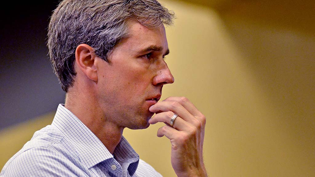 Presidential candidate Beto O'Rourke listens to a audience member's question at the Jacobs Center in Chollas View.