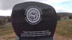 Monument honors the late landowner Frances Mosler, whose property was deeded to the JCFPD by an Indian conservancy.