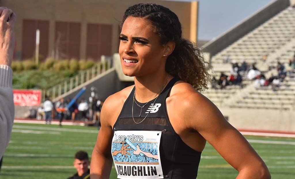 World-class hurdler Sydney McLaughlin is interviewed after her team won a 4 X 400 relay.