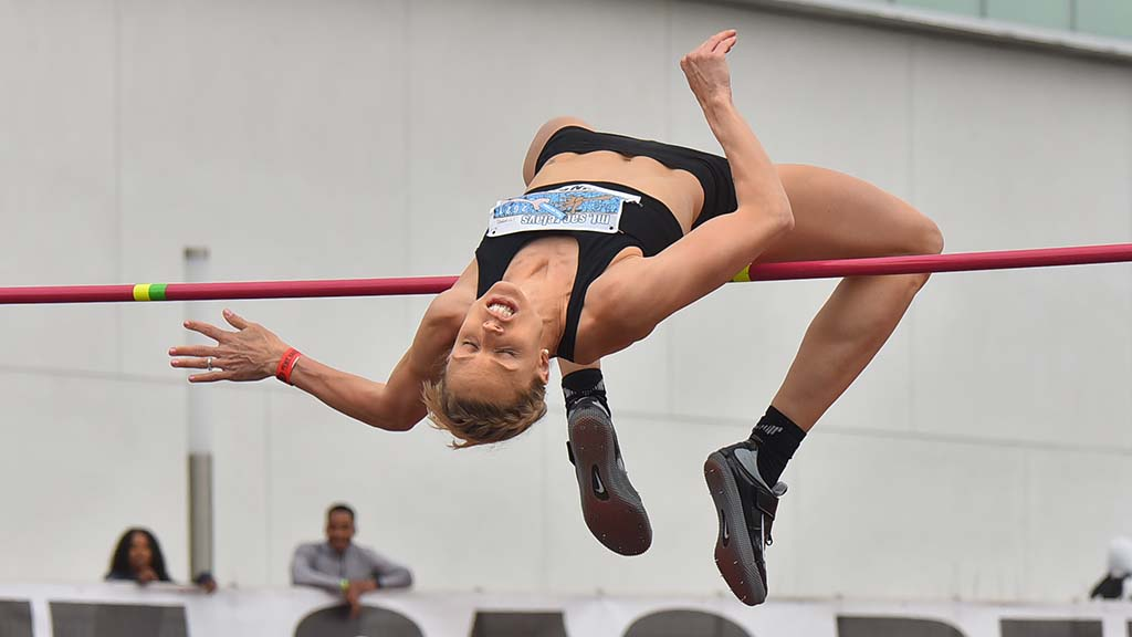 Erika Kinsey sails over the high jump bar at the Mt. Sac Relays in Torrance at El Camino College.