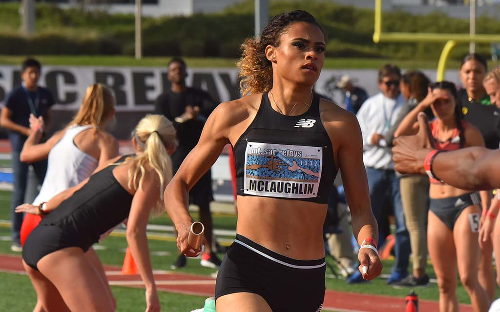 New Balance's Sydney McLaughlin runs a 50-second opening leg of the 4X400 relay at the Mt. SAC Relays.