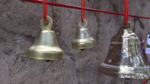 Small bells sold in the Panda Shop join the commemorative bell hung by the president/CEO of San Diego Zoo Global Douglas Myers.