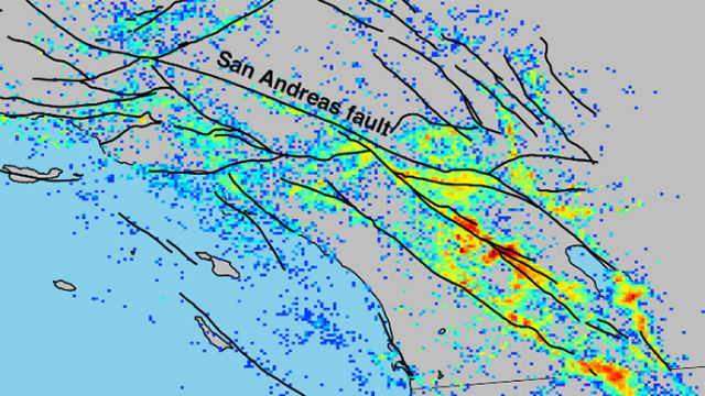 Map shows earthquake density in Southern California