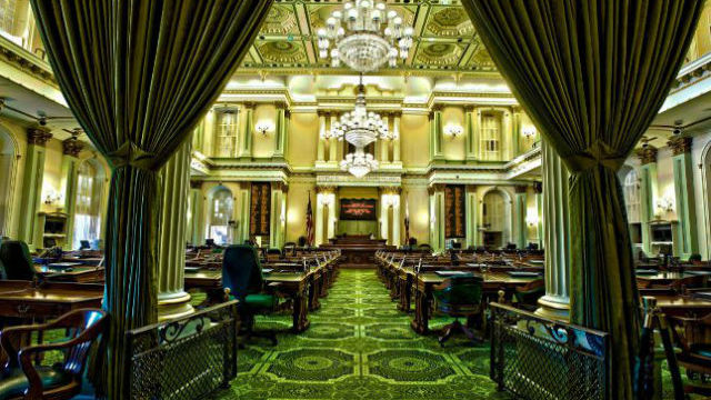 The ornate chambers of the California state Assembly in Sacramento