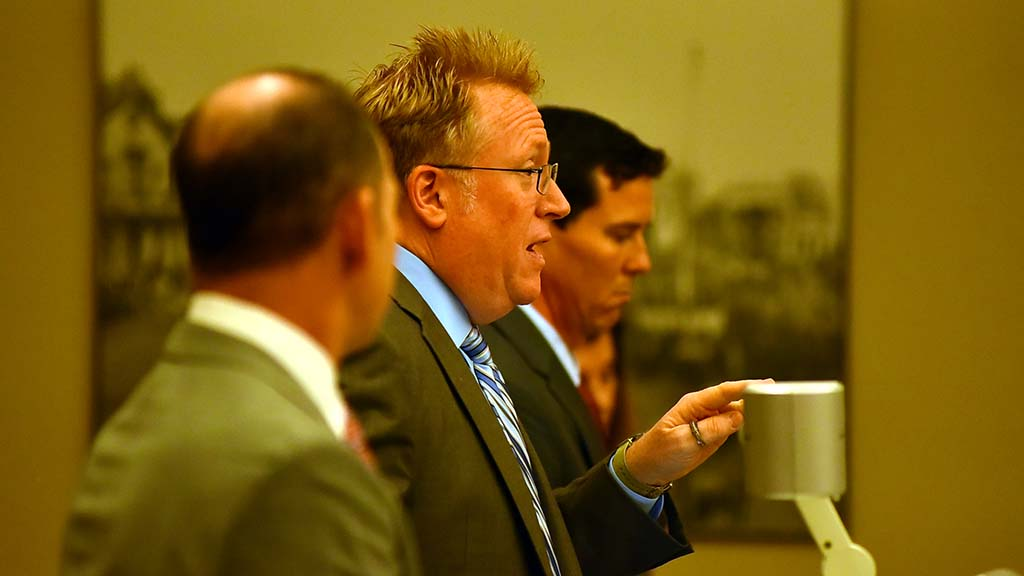 With LAFCO attorney Carmen Brock obscured by fellow counsels, Cory Briggs addresses Judge Randa Trapp in Superior Court.
