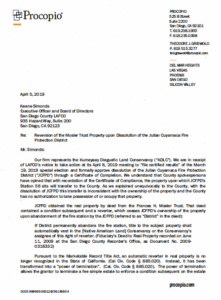 Procopio letter to LAFCO on Indian claims to Julian fire station property.